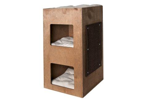 karlie katzenhaus turm mit drei kissen braun 39 x 39 x 75 cm katzeninfo24. Black Bedroom Furniture Sets. Home Design Ideas